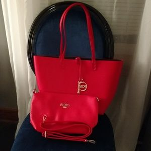 BCBG Paris red tote and cross body purse